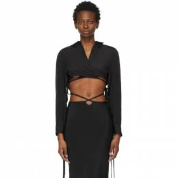Christopher Esber Black Cropped Tie Shirt SS21SH02