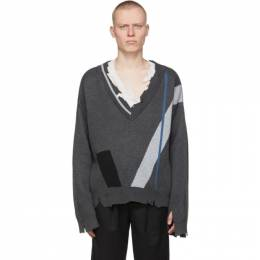 C2H4 Grey My Own Private Planet Geometry Layered Sweater R003-014T