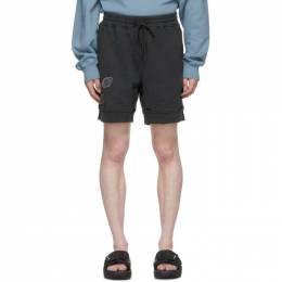 C2H4 Black My Own Private Planet Patched Ruin Sweat Shorts R003-050P