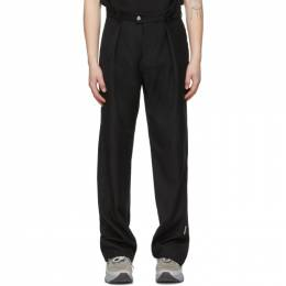C2H4 Black Filtered Reality Folded Waist Tailored Trousers R002-056