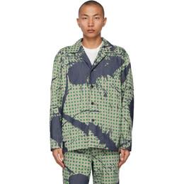 Homme Plisse Issey Miyake Green Denim Burnt-Out Printed Jacket HP17FC027