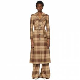 Kwaidan Editions Brown Plaid Coat SS21WC040W_CWC