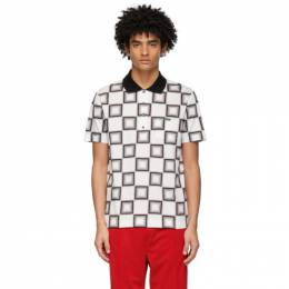 Lacoste White and Grey Ricky Regal Edition Pattern Polo DH1690-51