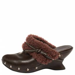 Salvatore Ferragamo Brown Leather And Faux Fur Studded Clog Mules Size 38.5 402261
