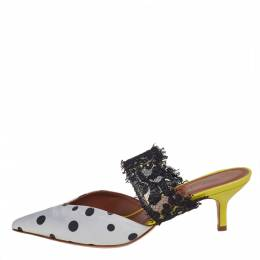 Malone Souliers by Emanuel Ungaro White/Black Polka Dot Satin And Lace Pointed Toe Mules Size 37 402421