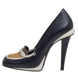 Fendi Black/White Lizard Embossed Leather Pumps Size 38 402479