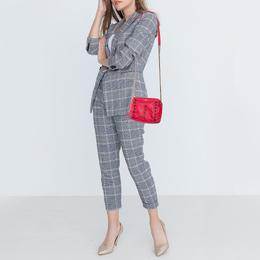 Lanvin Coral Red Leather Sugar Studded Shoulder Bag 401609