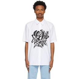 Opening Ceremony White Melted Logo Short Sleeve Shirt YMGA006S21FAB0010111