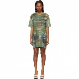 Raquel Allegra Green Tie-Dye Camo T-Shirt Dress Y211-1818TD