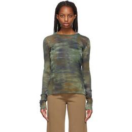 Raquel Allegra Green Tie-Dye Camo Mesh Long Sleeve T-Shirt Y211-1803TD