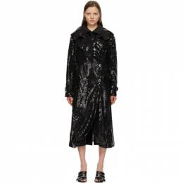 Junya Watanabe Black Sequin Organdy Double-Breasted Trench Coat JG-C004-051