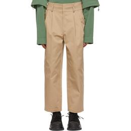 Juun.J Beige Two-Pleat Double Waistband Trousers JC1221P7AA
