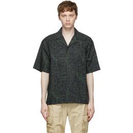 John Elliott Black and Green Radar Camp Short Sleeve Shirt E050N10730A