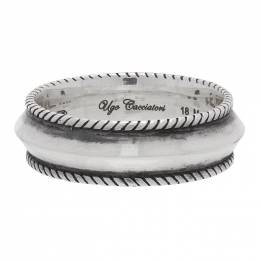 Ugo Cacciatori Silver Edge Band Ring RN103 AGN