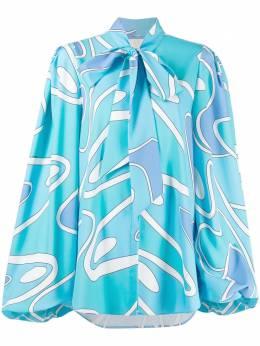 Sara Battaglia блузка с завязками и абстрактным принтом SBSS21702