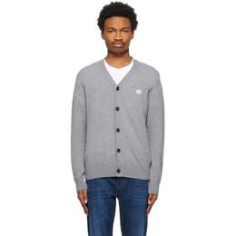 Acne Studios Grey Wool Patch Cardigan C60024-