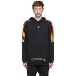 Adidas Originals Black and Multicolor SPRT 3-Stripe Hoodie GN2424