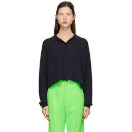 Acne Studios Grey Alpaca Crop Polo Sweater A60247-