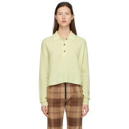 Acne Studios Yellow Alpaca Ribbed Polo Sweater A60247-
