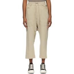 Rick Owens DRKSHDW Beige Cropped Long Drawstring Lounge Pants DS21S2325 RN