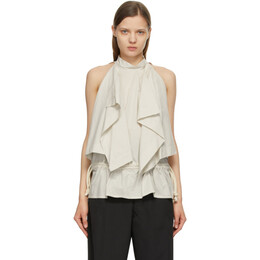 Lemaire Off-White and Grey Striped Foulard Blouse W 211 TO404 LF559