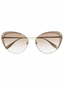 Alexander McQueen Eyewear солнцезащитные очки в круглой оправе 30010854002