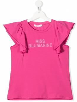 Miss Blumarine футболка с оборками и логотипом MBL3821