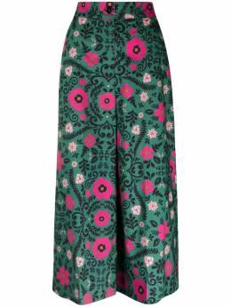 La Doublej укороченные брюки с цветочным принтом TRO0027COT001