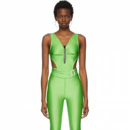Pushbutton SSENSE Exclusive Green Jewelled Cut-Out Bodysuit PB2120607W