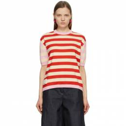 Sunnei Off-White and Red Stripe Classic Short Sleeve Sweater SN1PXM002002.000