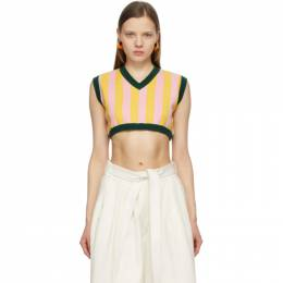 Sunnei Pink and Yellow Striped Sleeveless V-Neck Sweater SN1PXM012002.000