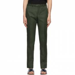 Isaia Green Cotton Sanita Trousers 7602 95679