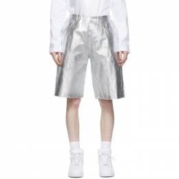 Comme Des Garcons Homme Plus White and Silver Foil Shorts PG-T028-051