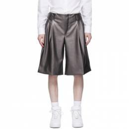 Comme Des Garcons Homme Plus Silver Faux-Leather Shorts PG-P016-051