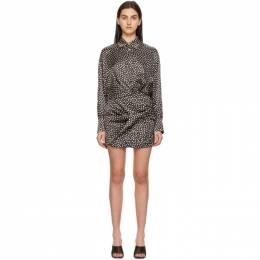 Magda Butrym Brown Silk Dot Shirt Dress 203521