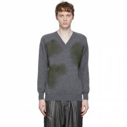 Comme Des Garcons Homme Deux Grey Lochaven of Scotland Edition V-Neck Sweater DG-N502-051