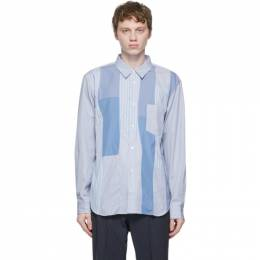 Comme Des Garcons Homme Deux White and Blue Stripe Panel Shirt DG-B023-051