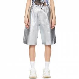 Comme Des Garcons Homme Plus Black and Silver Foil Shorts PG-T028-051