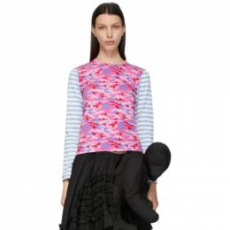 Comme Des Garcons Girl Blue Camo and Stripe Long Sleeve T-Shirt NG-T002-051