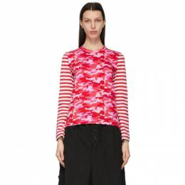 Comme Des Garcons Girl Pink Camo and Stripe Long Sleeve T-Shirt NG-T002-051