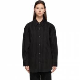 Alexander Wang Black Pinstripe Oversized Button Down Shirt 1WC2213147