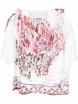 Erika Cavallini блузка с короткими рукавами и принтом P1SK06