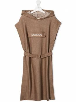 Douuod Kids платье с капюшоном и нашивкой-логотипом FA032210