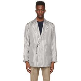 Dunhill Black and White Stripe Split Hem Blazer DU21RBN42GD