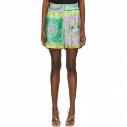 Versace Multicolor Leopard and Barocco Mosaic Shorts A84097_1F00719_5X000