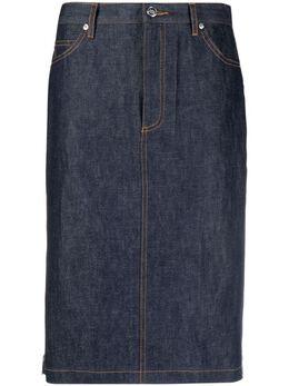 A.P.C. джинсовая юбка с плиссированными вставками PSAFFF06325