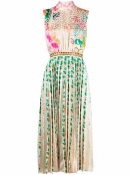 Saloni плиссированное платье с цветочным принтом 10385
