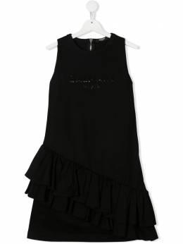 Balmain Kids платье с пайетками и оборками 6O1272OD530