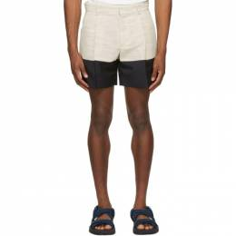Botter Beige and Navy Crepe Incrustated Shorts 5015 W054 BEIGE NAVY