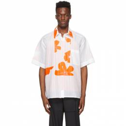 Botter White and Orange Cotton Grandpa Floral Shirt 4000P W007 WHITE ORANGE
